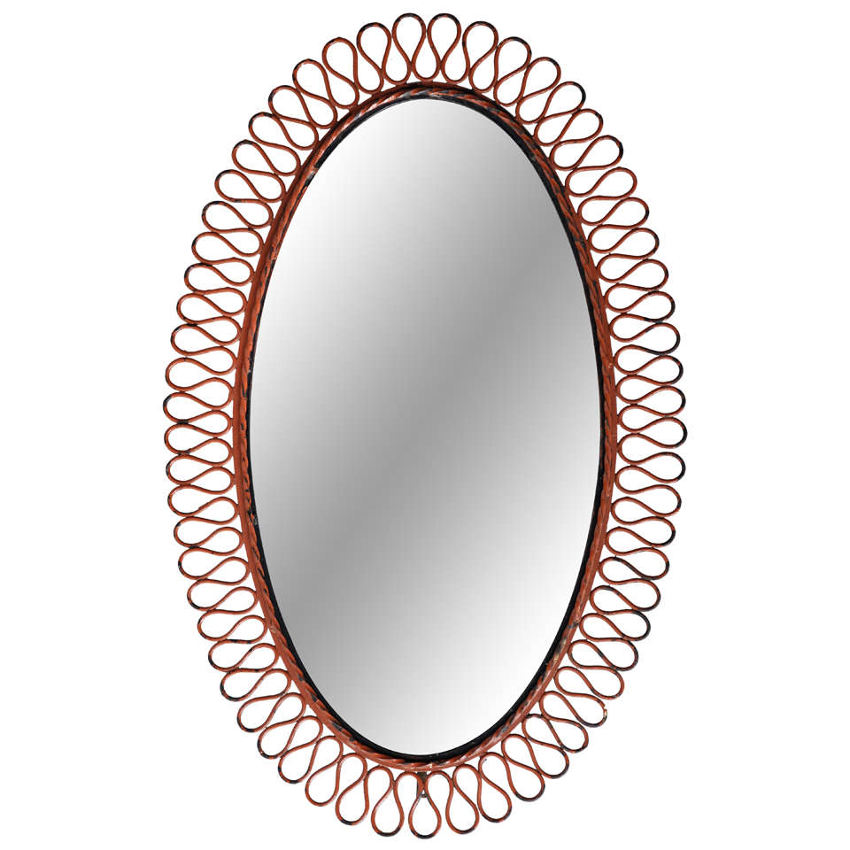 Large oval mirror by mathieu mategot at 1stdibs for Large mirror