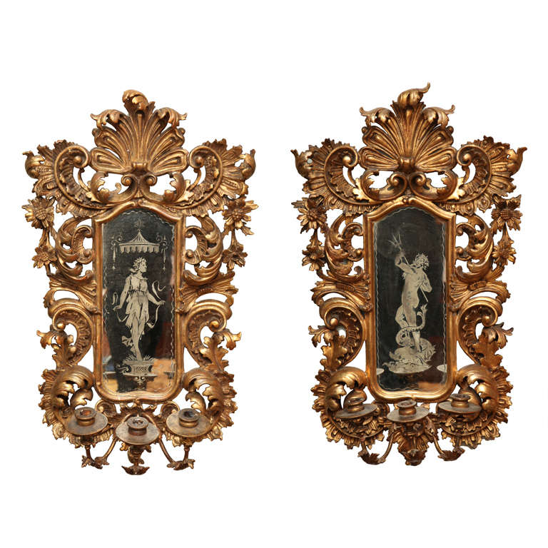 Italian Style Wall Sconces : Italian Baroque Style Carved and Giltwood Wall Sconces at 1stdibs