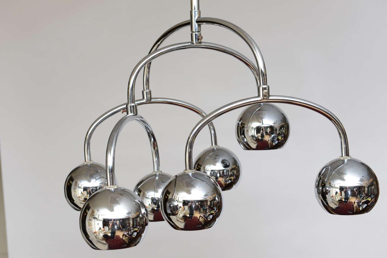 Mid-Century Modern Robert Sonneman Seven-Light Chrome Tiered Chandelier For Sale