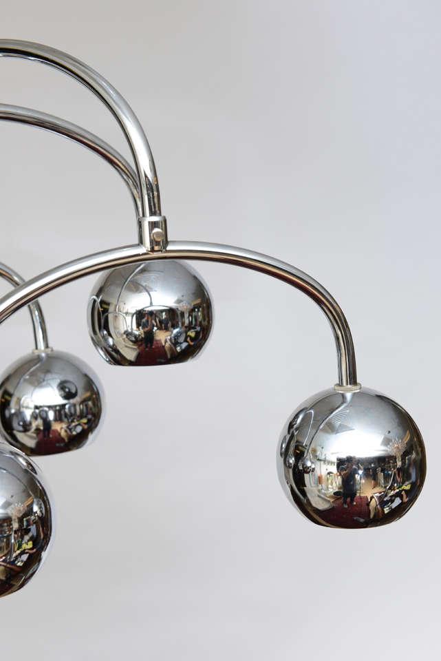 American Robert Sonneman Seven-Light Chrome Tiered Chandelier For Sale