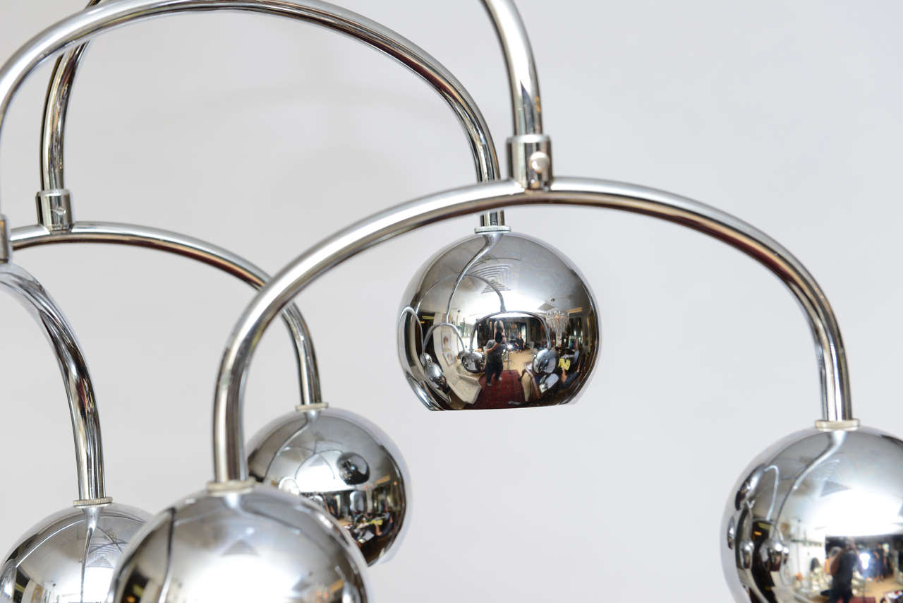 Robert Sonneman Seven-Light Chrome Tiered Chandelier In Good Condition For Sale In East Hampton, NY
