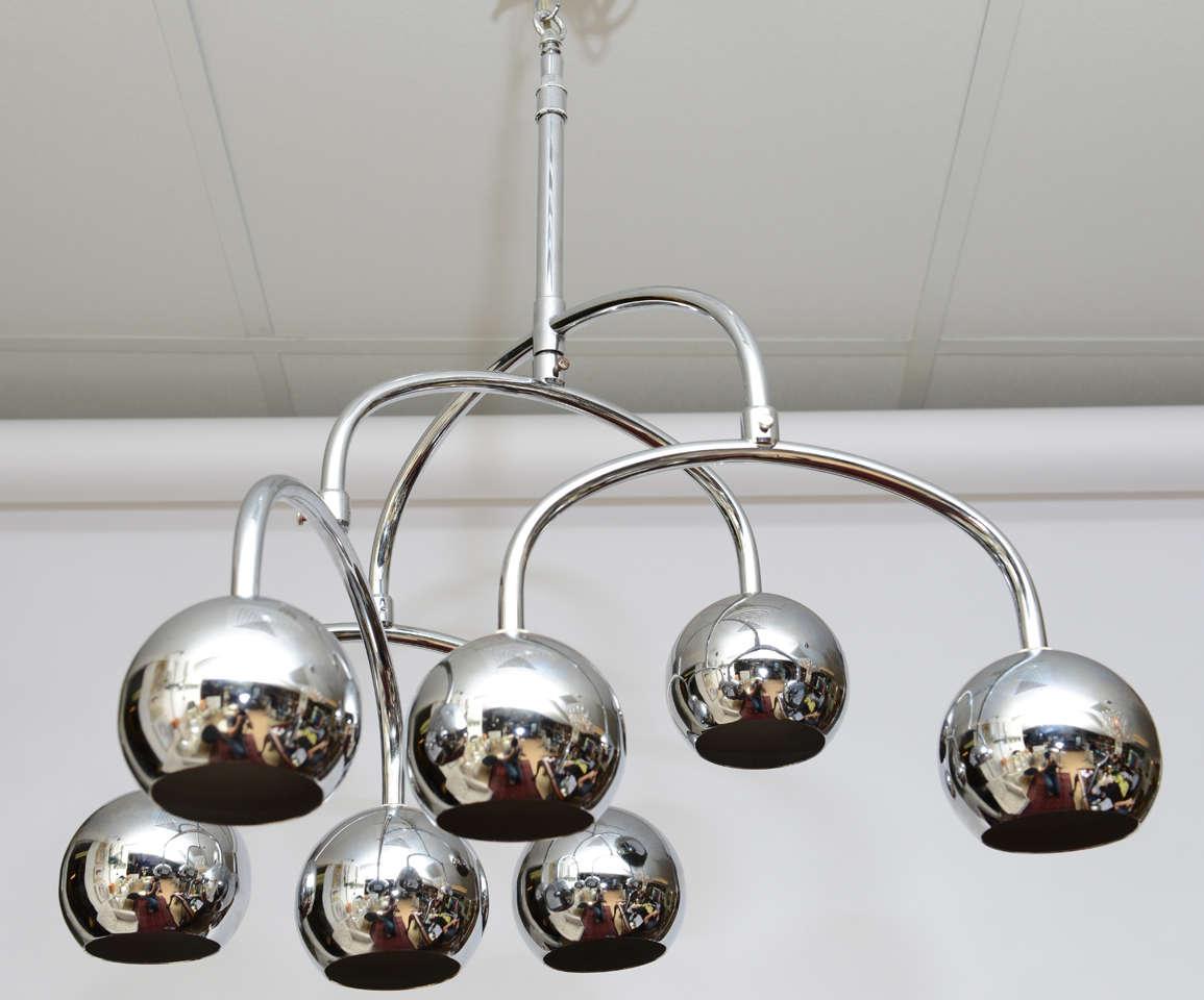 Robert Sonneman Seven-Light Chrome Tiered Chandelier For Sale 2