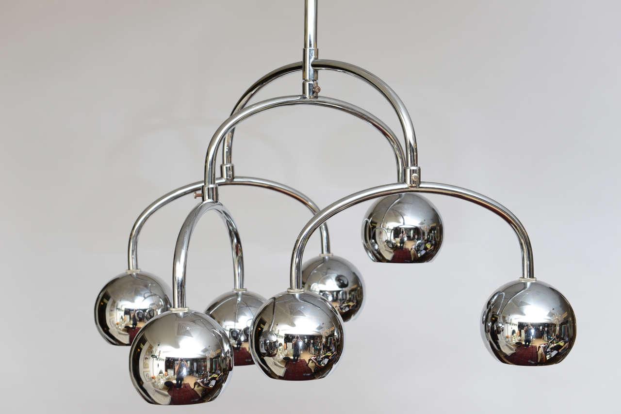 Robert Sonneman Seven-Light Chrome Tiered Chandelier For Sale 4