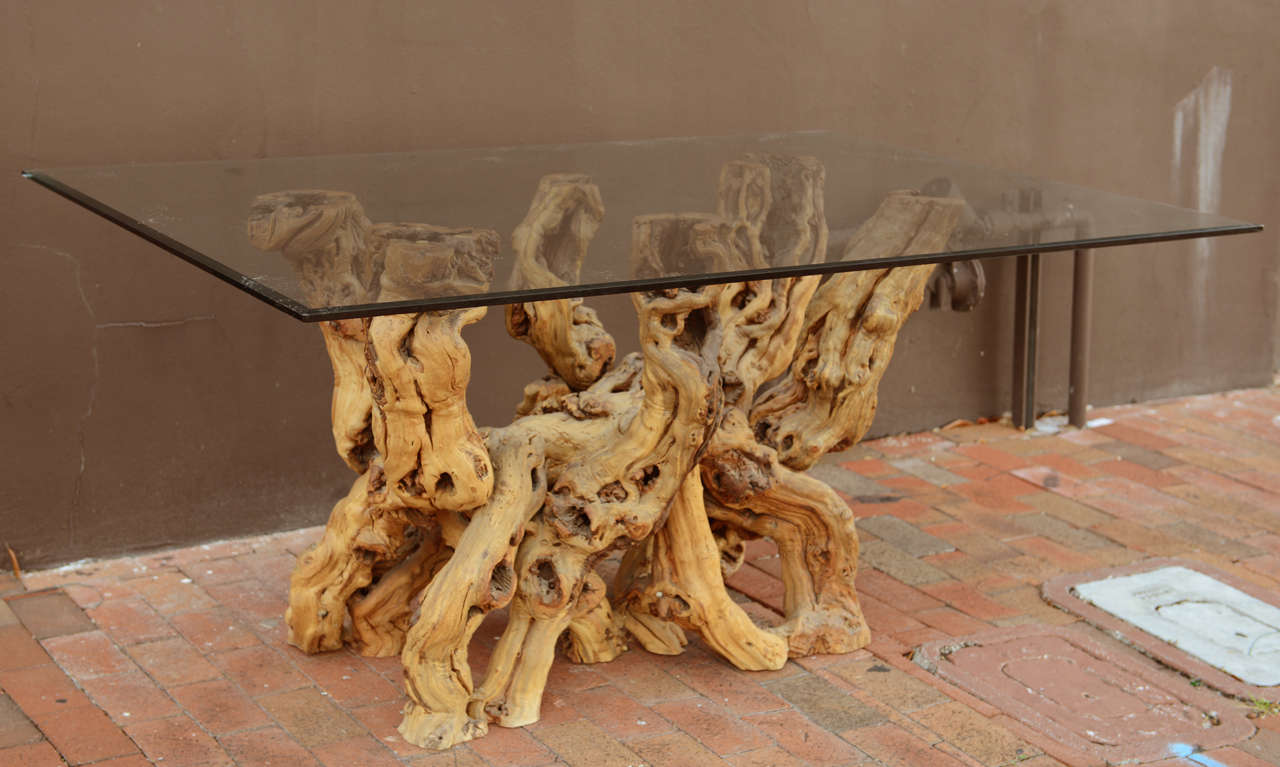 A Cypress Root Base Table At 1stdibs. Driftwood Base Dining Table Gvine  Glass ...