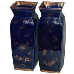 "Pair Antique Mason's Ironstone ""Mazarine' Pattern Lustreware Vases"