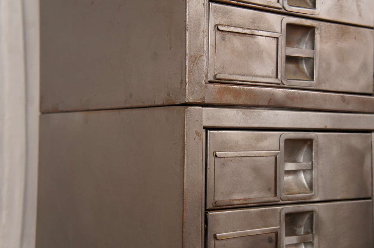 mid century industrial 3 Piece Apothecary Cabinet In Excellent Condition For Sale In Canaan, CT