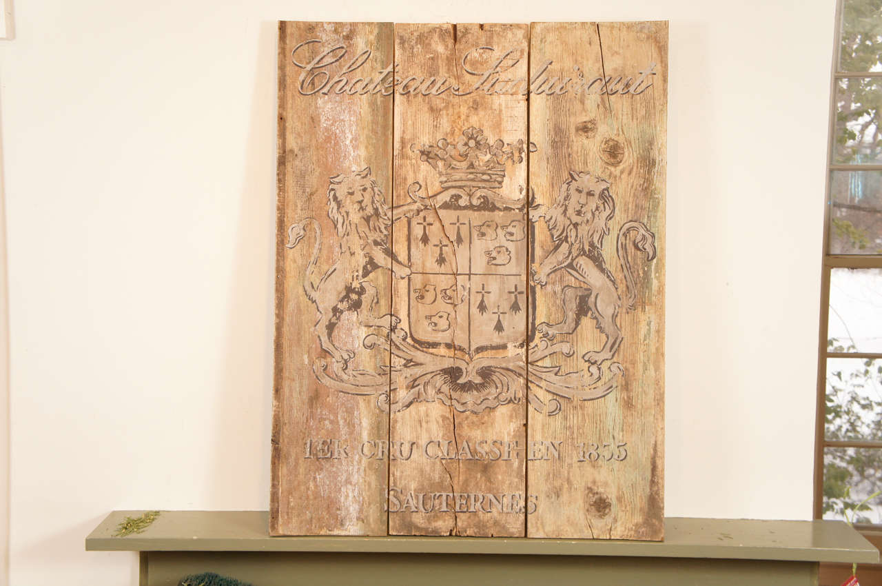 French Wooden Wine Sign/Sauternes 3