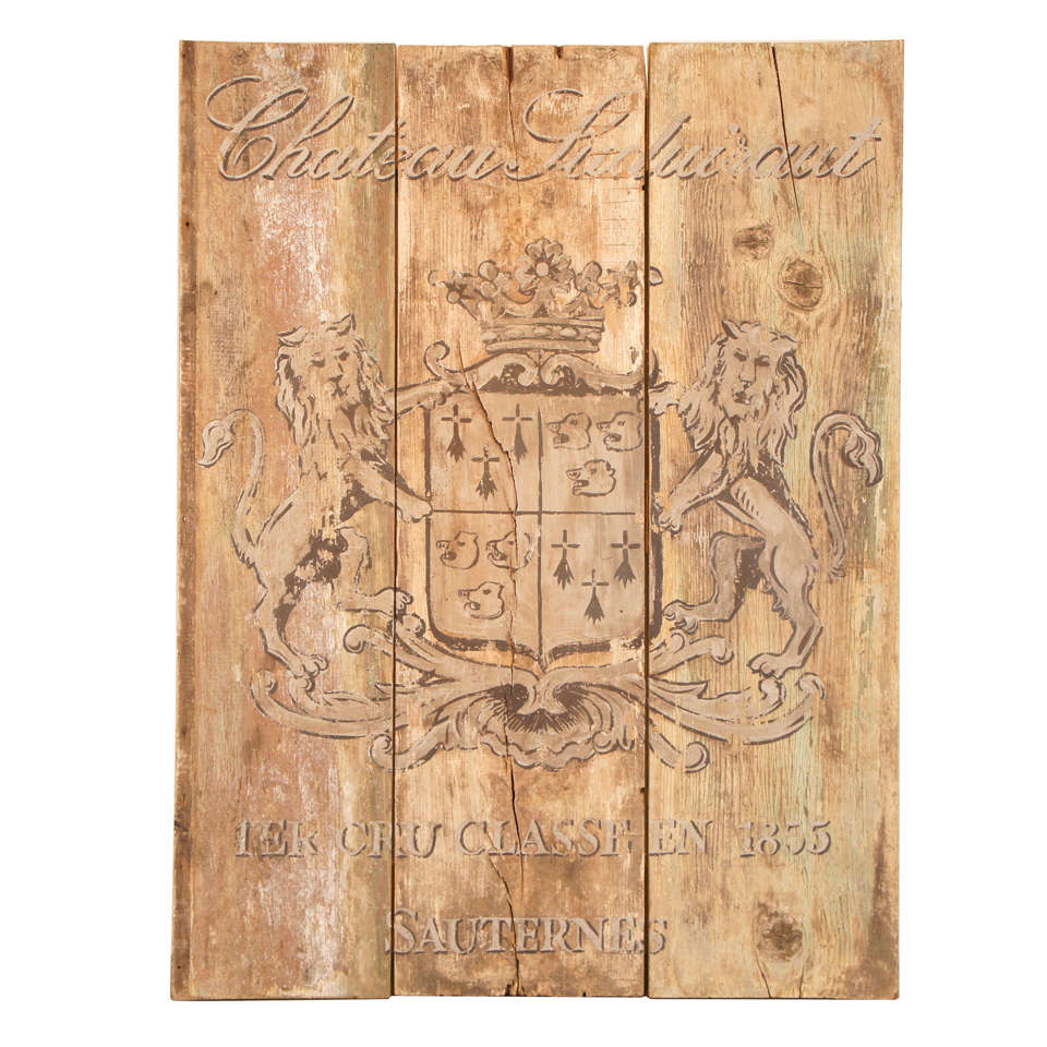 French Wooden Wine Sign/Sauternes
