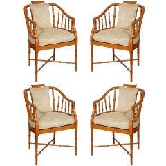 Set of Four Hollywood Regency Faux Bamboo Armchairs