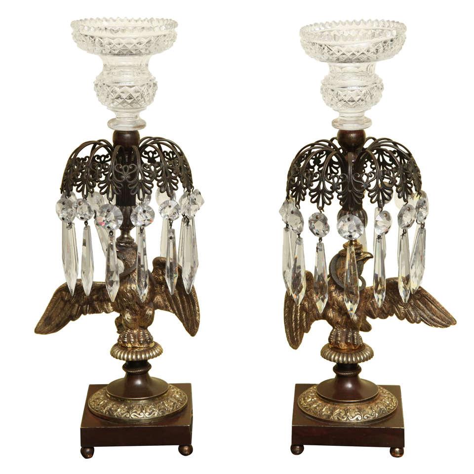 Antique Pair of Regency Ormolu Eagle Candlesticks, English, circa 1810