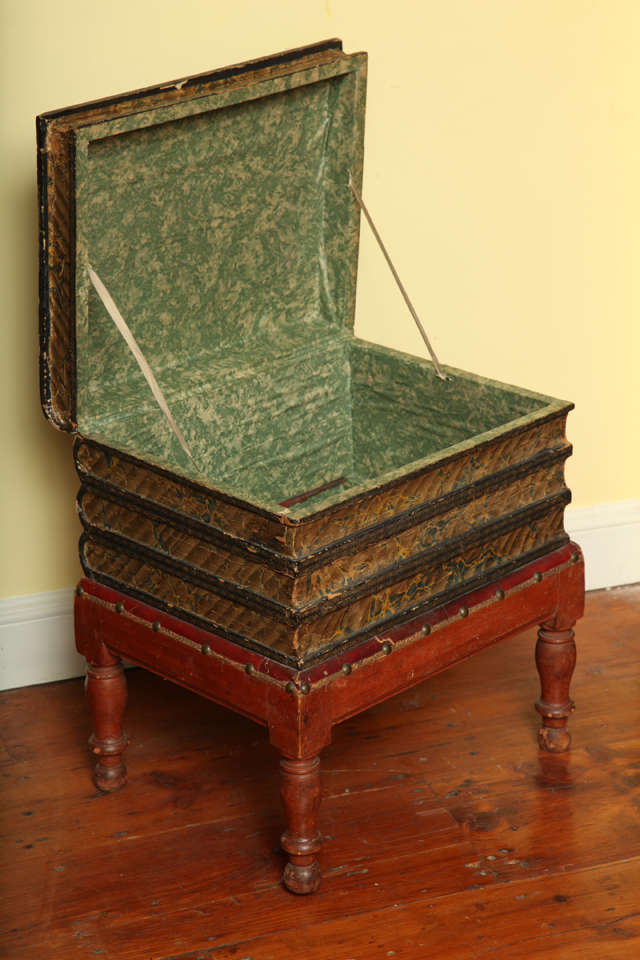 Victorian Antique Gilt Tooled Blue Faux Leather Side Table, circa 1880 For Sale