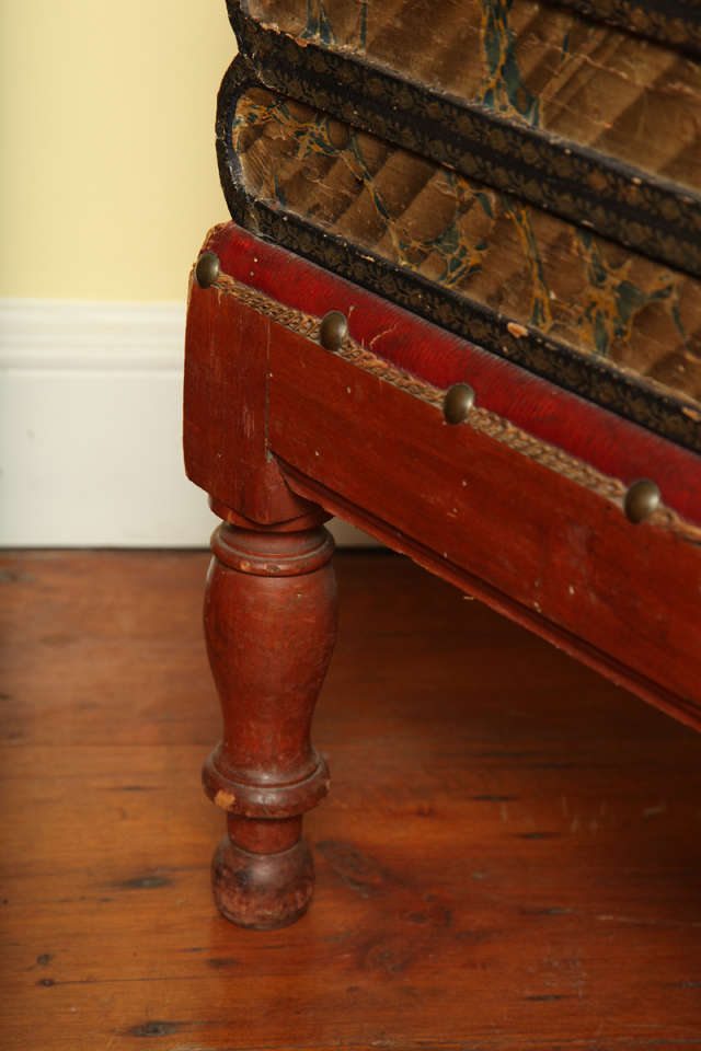 Painted Antique Gilt Tooled Blue Faux Leather Side Table, circa 1880 For Sale