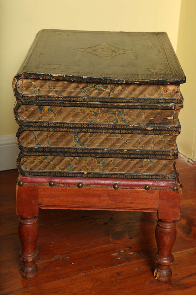 Antique Gilt Tooled Blue Faux Leather Side Table, circa 1880 In Good Condition For Sale In New York, NY