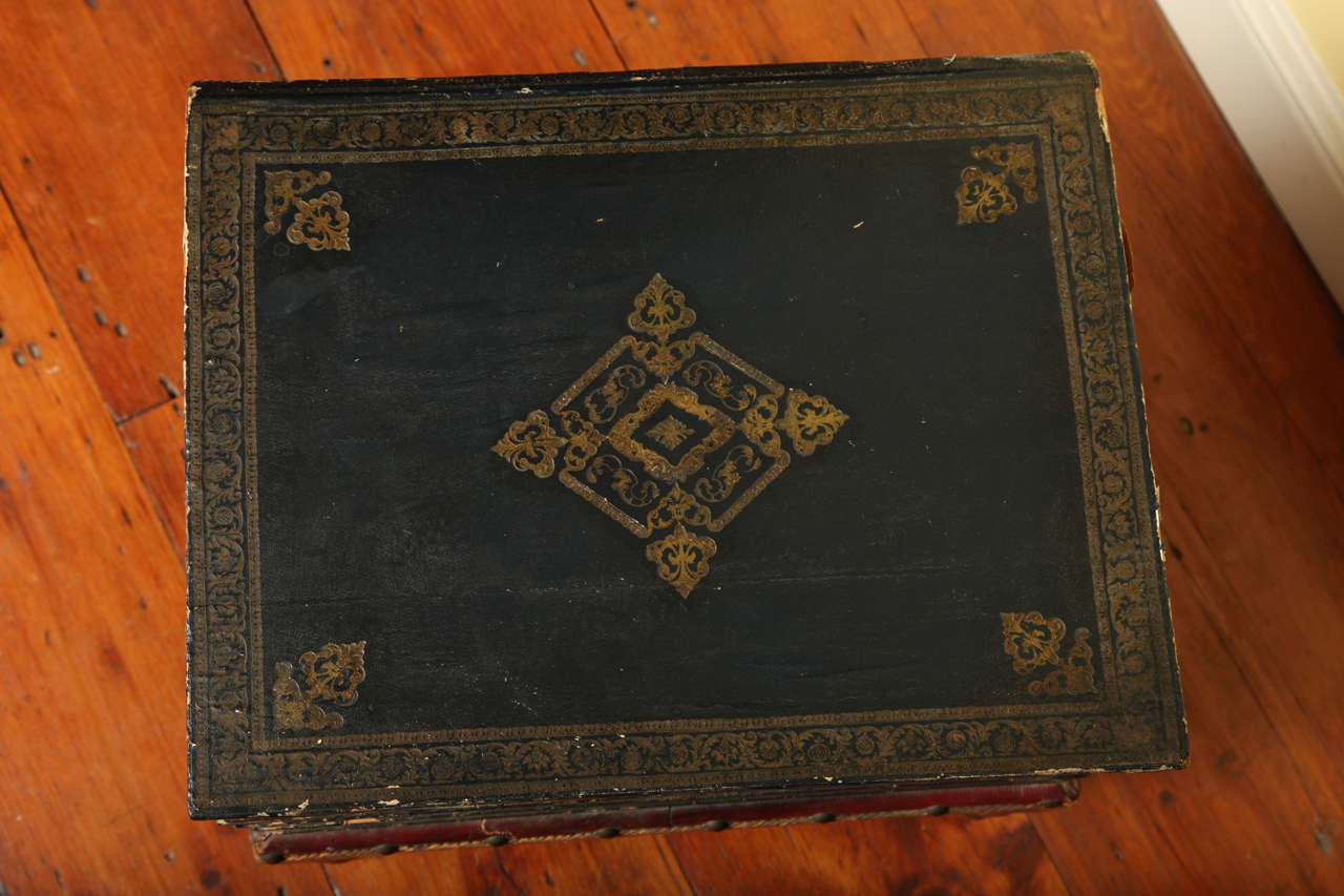 19th Century Antique Gilt Tooled Blue Faux Leather Side Table, circa 1880 For Sale