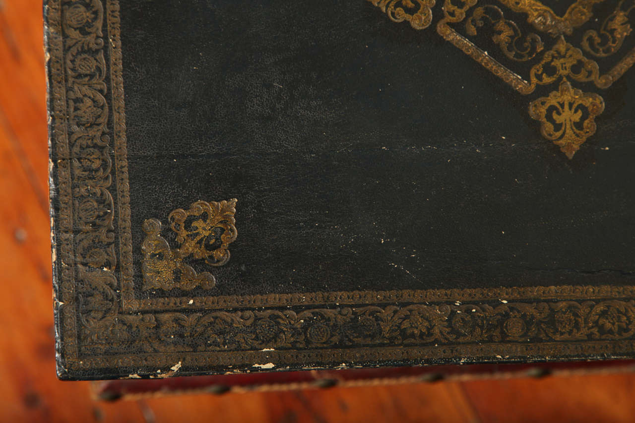 Wood Antique Gilt Tooled Blue Faux Leather Side Table, circa 1880 For Sale