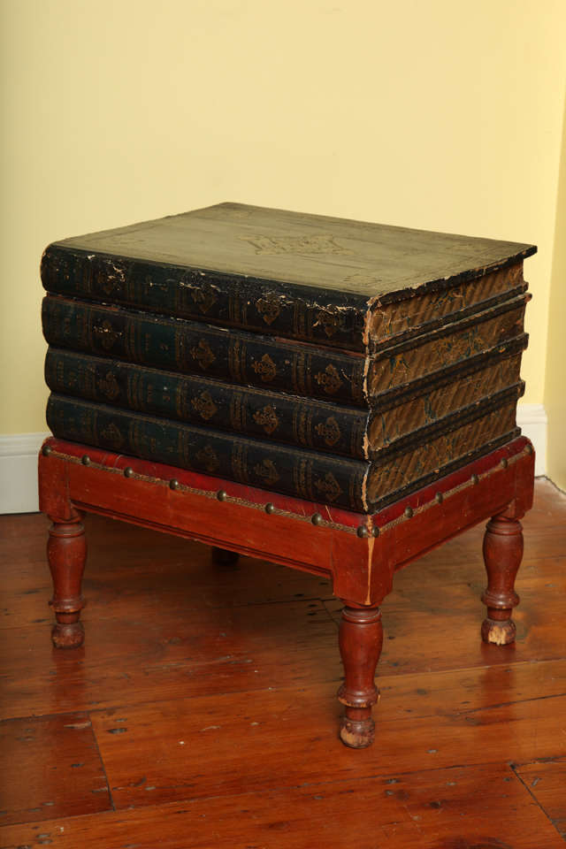 Antique Gilt Tooled Blue Faux Leather Side Table, circa 1880 For Sale 1