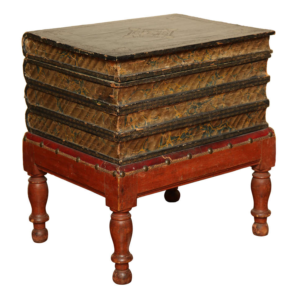Antique Gilt Tooled Blue Faux Leather Side Table, circa 1880