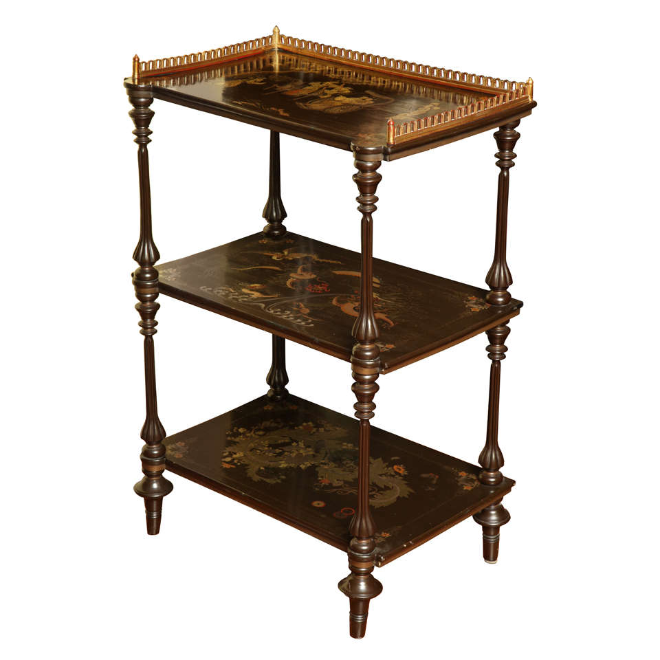 antique chinese export lacquer etagere 19th century for sale at 1stdibs. Black Bedroom Furniture Sets. Home Design Ideas