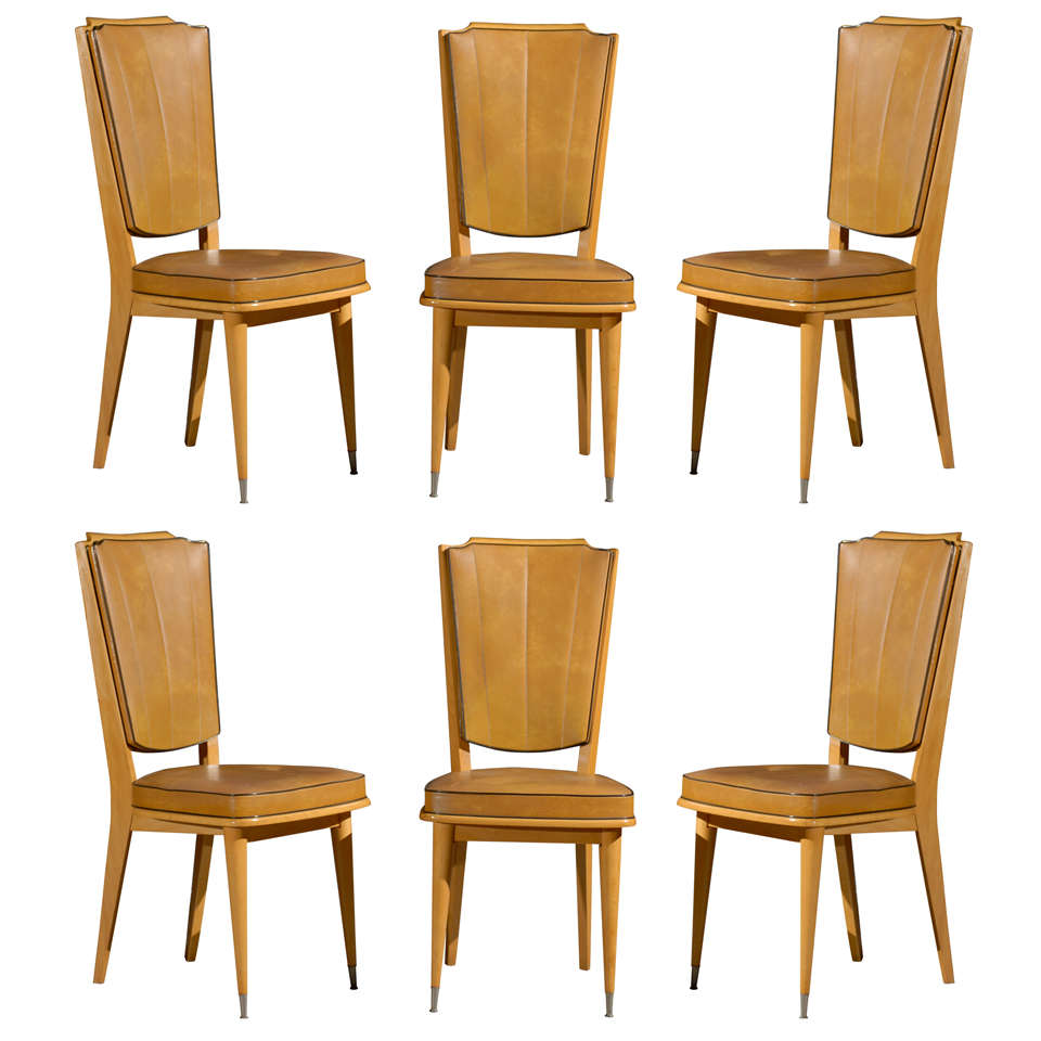 6 french art deco dining chairs at 1stdibs for 6 dining room chairs
