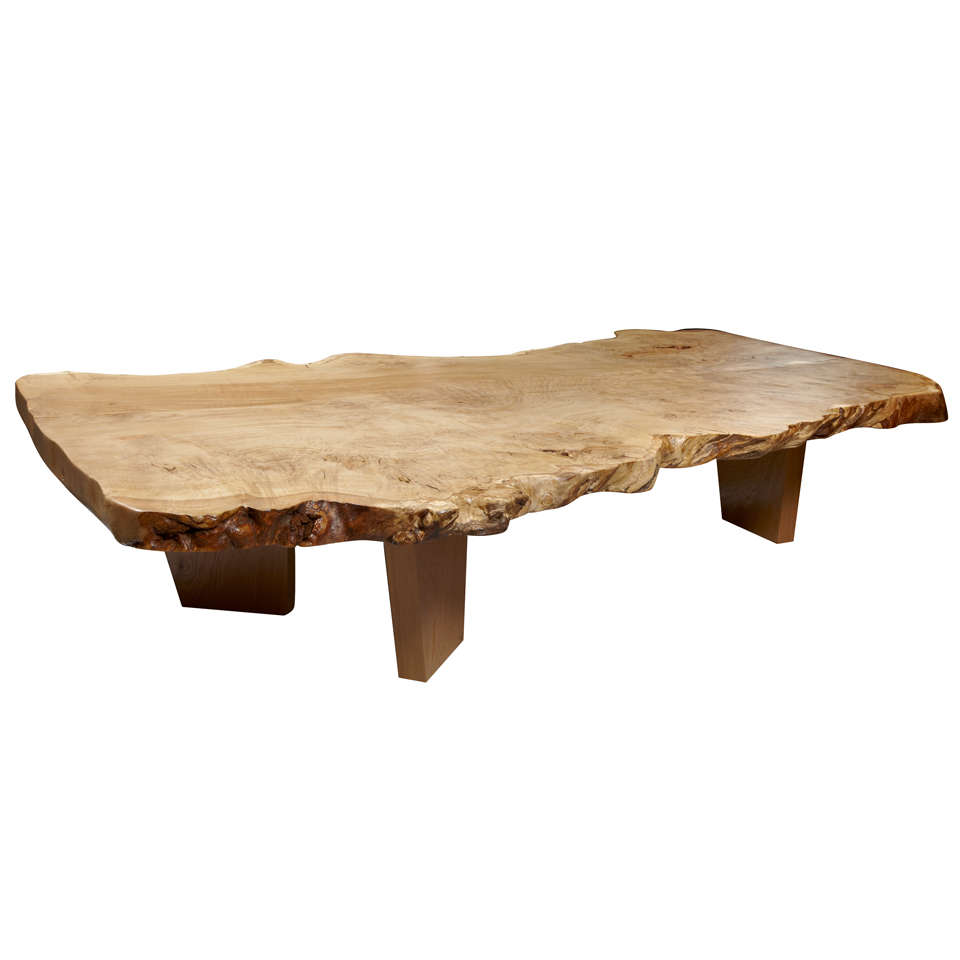 Large Solid Oak Organic Shaped Coffee Table At 1stdibs