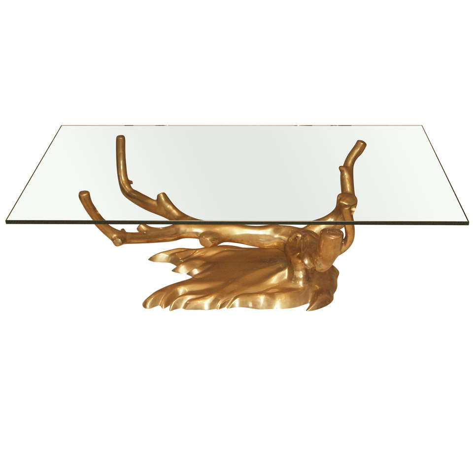 Tree Coffee Table Dk3: Tree Form Coffee Table In Cast Brass At 1stdibs
