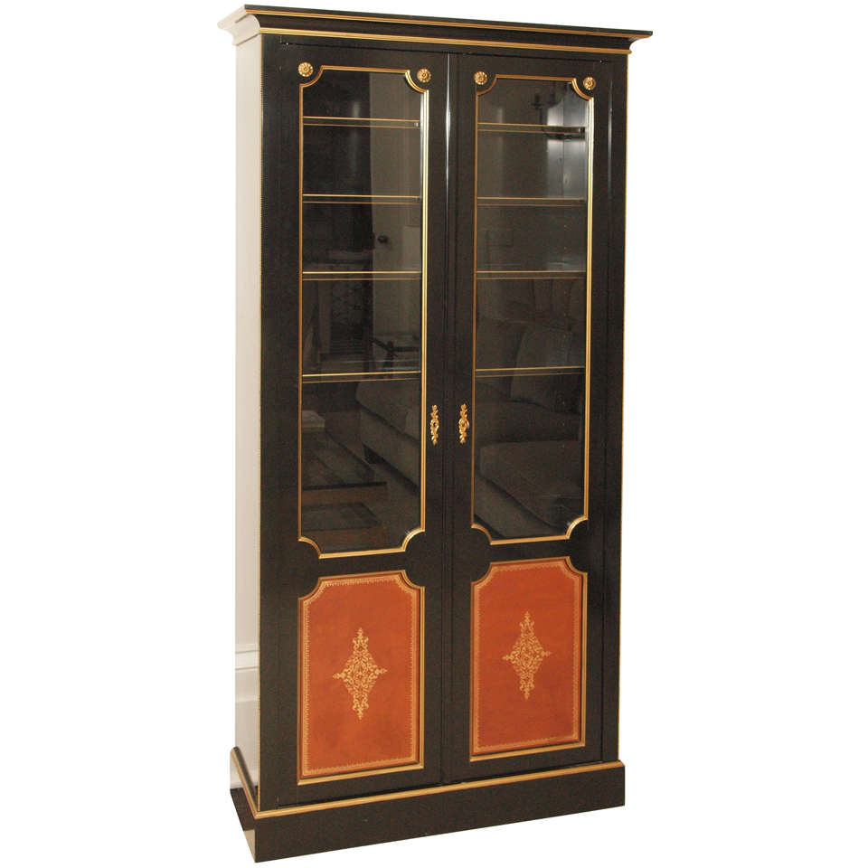 elegant ebonized vitrine signed m hirch at 1stdibs. Black Bedroom Furniture Sets. Home Design Ideas
