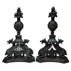 Pair of Italian Bronze Andirons; Prov: Potter Palmer Castle