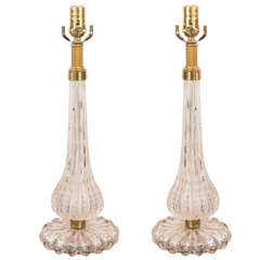 Pair, Vintage Seguso Bubble Glass Lamps