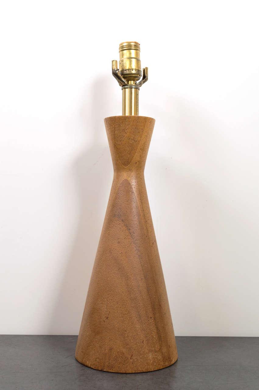 mid century teak wood turned table lamp at 1stdibs. Black Bedroom Furniture Sets. Home Design Ideas
