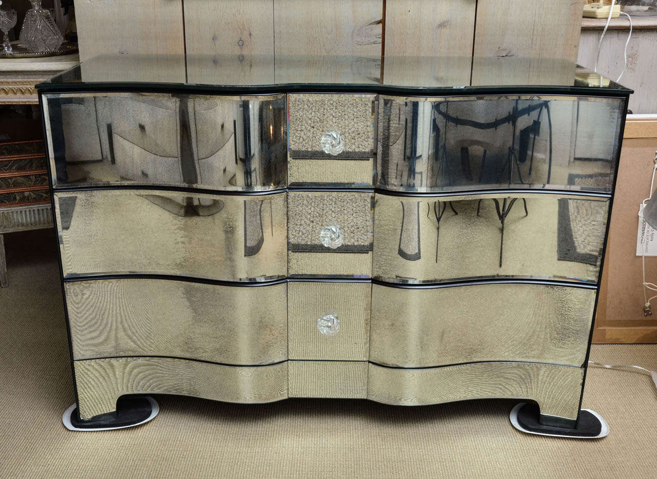 beautifully made 3 drawer mirrored commode at 1stdibs. Black Bedroom Furniture Sets. Home Design Ideas