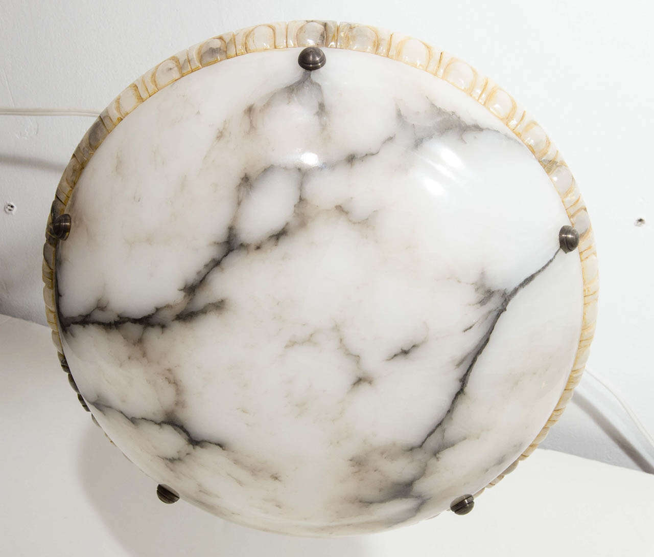 Alabaster Light Fixture In Excellent Condition For Sale In New York, NY