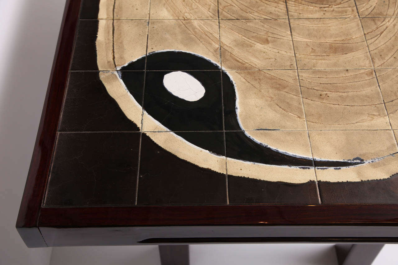 Yin yang ceramic tile top table for sale at 1stdibs for Table yin yang