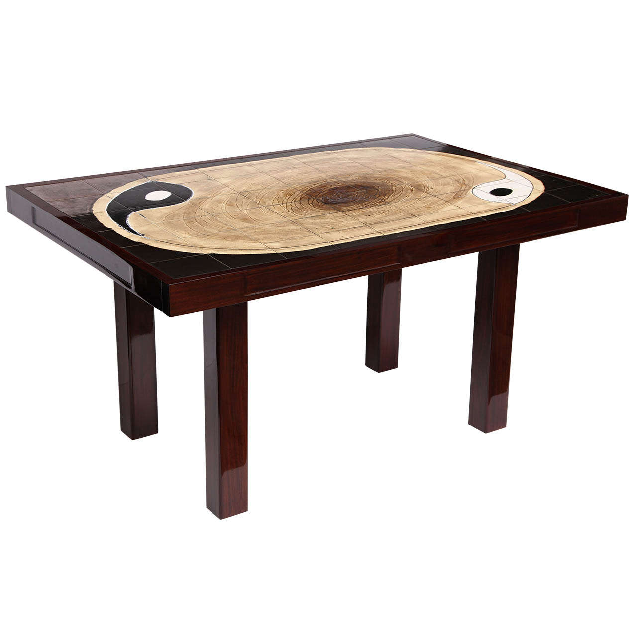 Yin Yang Ceramic Tile Top Table For Sale