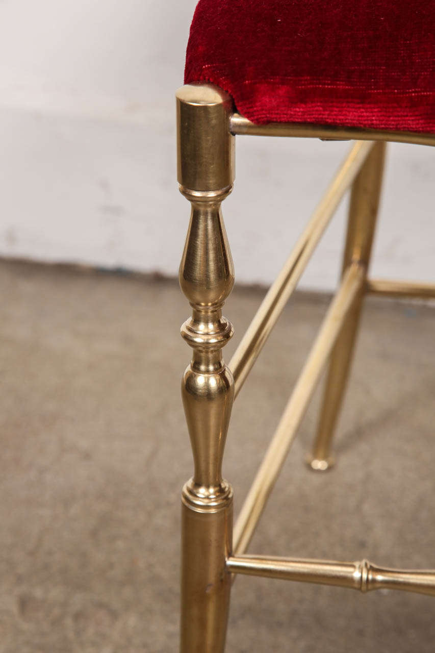 Hand-Crafted Polished Brass Chiavari Chairs with Red Velvet, Italy For Sale