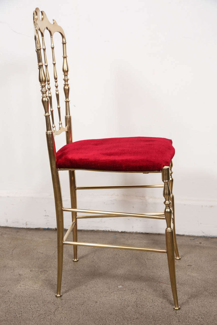 Polished Brass Chiavari Chairs with Red Velvet, Italy In Good Condition For Sale In Los Angeles, CA