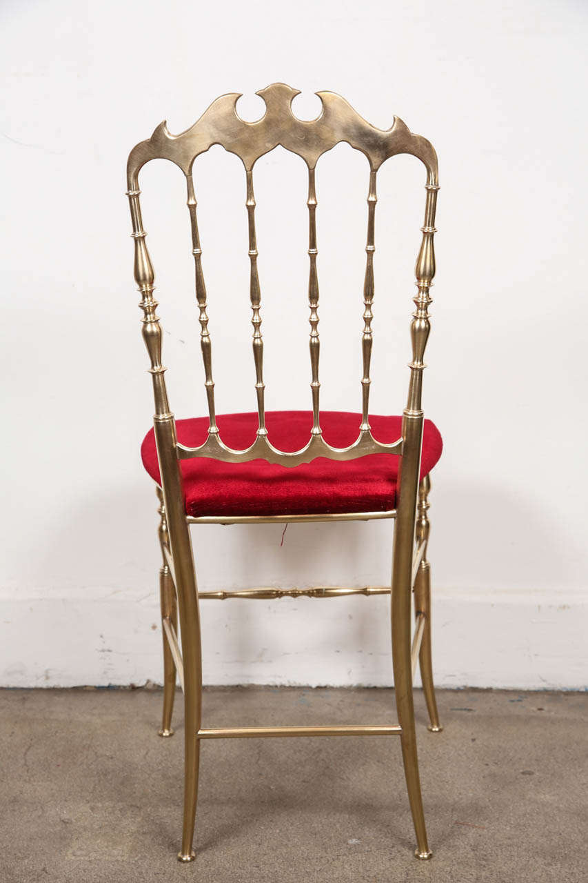 Mid-20th Century Polished Brass Chiavari Chairs with Red Velvet, Italy For Sale