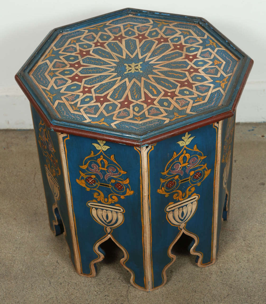 Moroccan Blue Colorful Hand Painted Side Table With Moorish Design. Blue  Background With Multicolored
