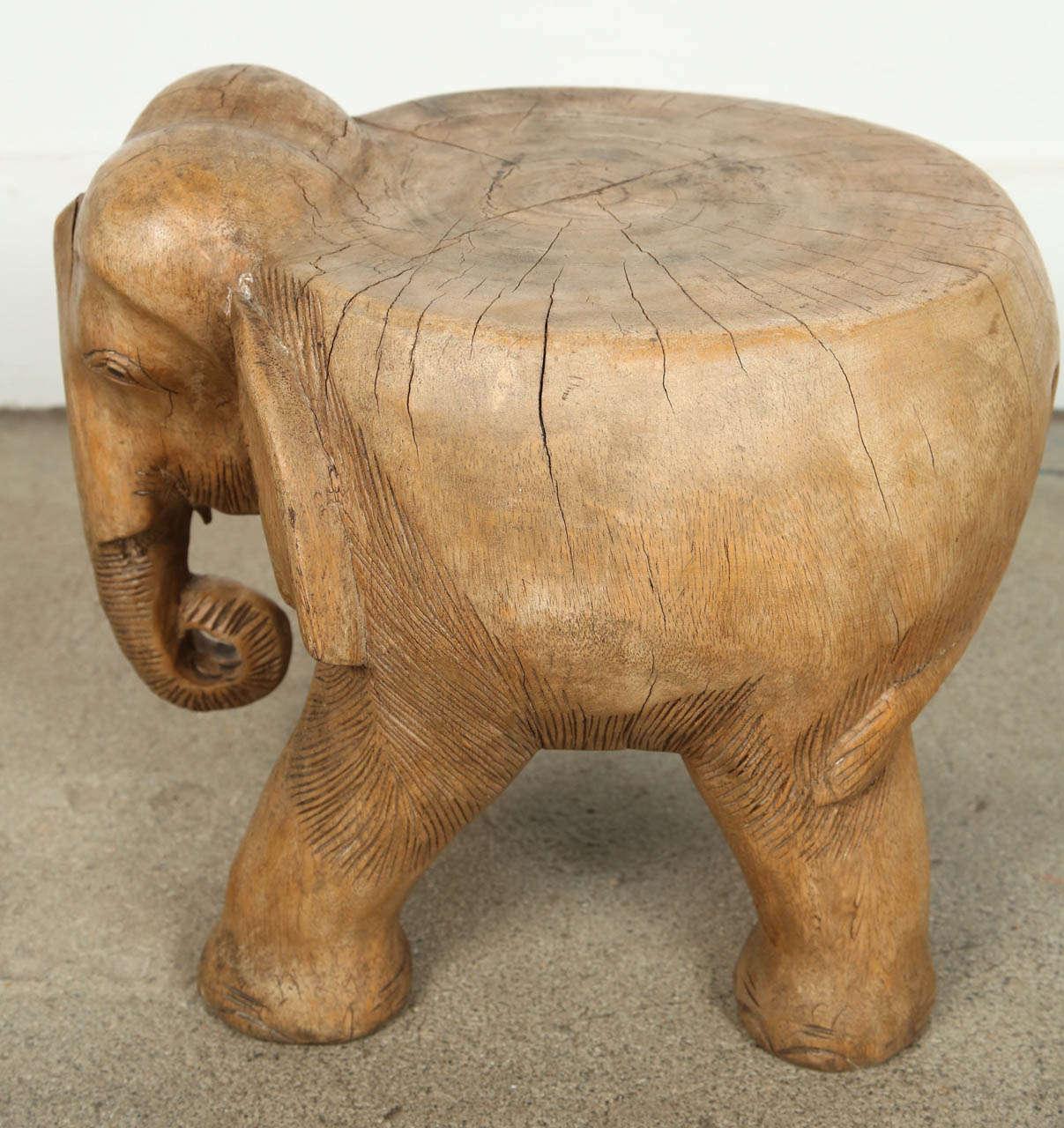 Elephant Stool Hand Carved Wood At 1stdibs