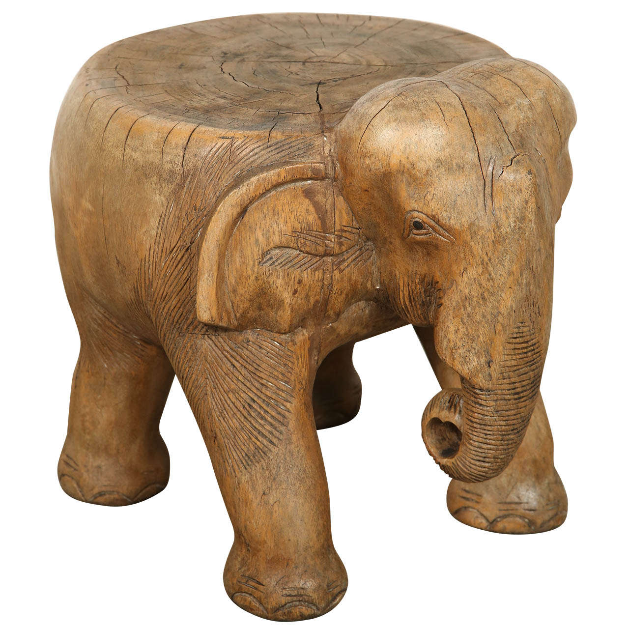 Elephant Stool Hand Carved Wood At 1stdibs