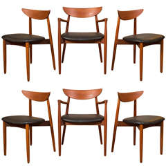 Six Harry Ostergaard for Randers Mobelfabrik Teak Dining Chairs