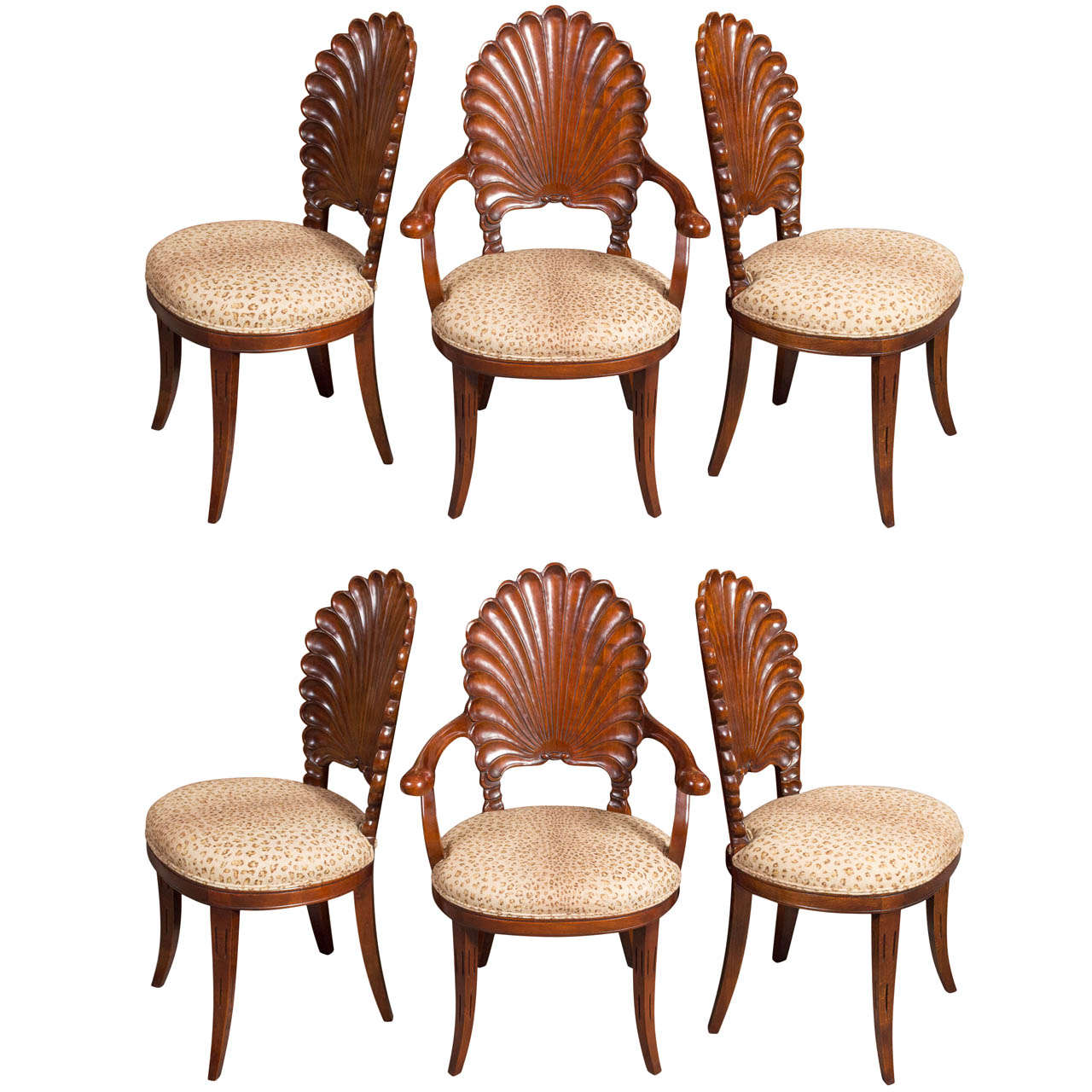 Six Walnut Venetian Grotto Chairs For Sale