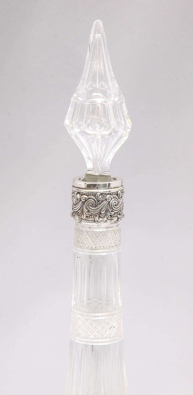 American Very Rare Tall Sterling Silver-Mounted Tiffany & Co. Decanter For Sale