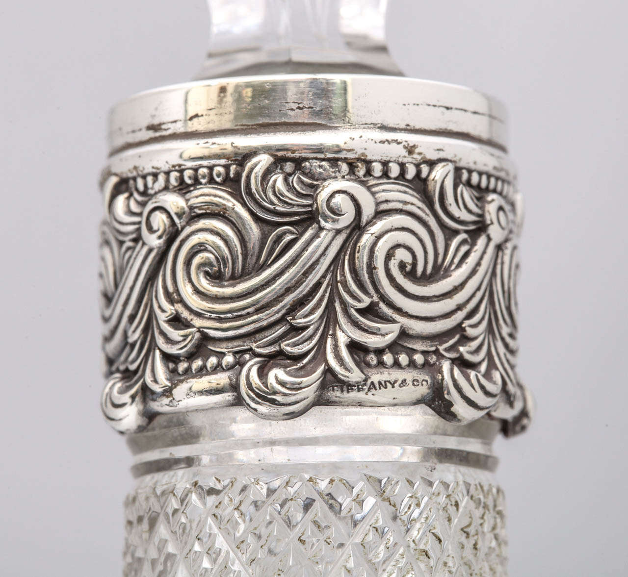 Very Rare Tall Sterling Silver-Mounted Tiffany & Co. Decanter For Sale 1