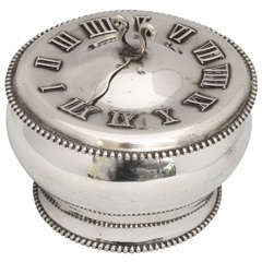 Very Unusual Sterling Silver Round Box with Sundial Motif on Lid