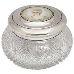 Rare Edwardian Sterling Silver-Mounted Powder Jar