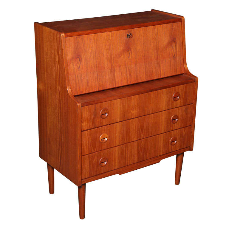 Teak Secretary with 3 Drawers and Drop Down Desk at 1stdibs