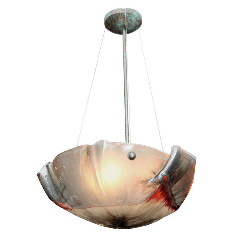 An Italian Hand Blown Glass Ceiling Light At 1stdibs
