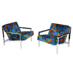 Milo Baughman Chrome Lounge Chairs