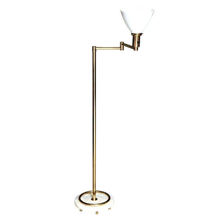Brass plated and glass shade floor lamp at 1stdibs for Brass plated floor lamp