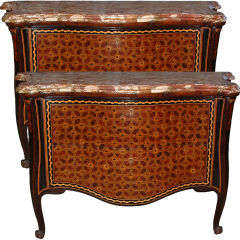 18th Century Pair of Italian Parquetry Arbalete Commodes or Dressers